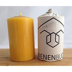 2 Stück Kerzen, 10 x 6 cm, Stumpenform, aus 100% Bienenwachs handgemacht, gegossen, mit langer Brenndauer…