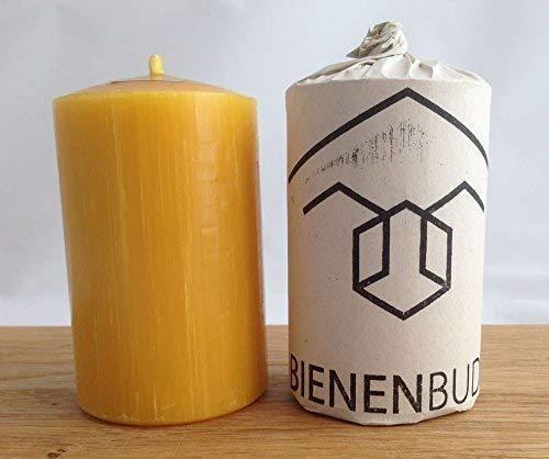 2 Stück Kerzen, 10 x 6 cm, Stumpenform, aus 100% Bienenwachs handgemacht, gegossen, mit langer Brenndauer, Bienenwachskerzen, direkt vom Imker aus Deutschland, Bayern, von der Bienenbude