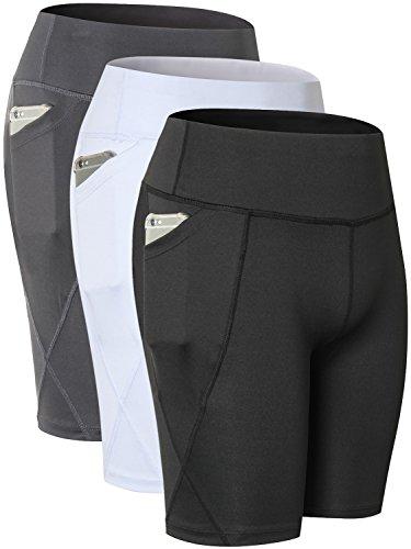 Yuerlian Damen Frauen Sport Shorts Hohe Taille Bauch Kontrolle Pocket Workout Running Yoga Shorts 3Pack, Damen, Black + White + Gray, US XXL