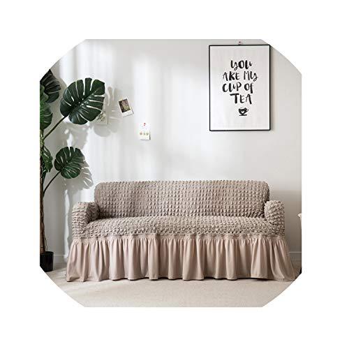 Jacquard-Sofa-Abdeckung mit Rock europäischen Schnitt Couch Sofabezüge für Wohnzimmer Sessel Sofabezüge Elastic Stretch,Grau,Pillowcase x 4 -
