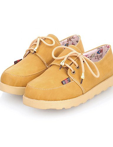 ZQ hug Scarpe Donna - Stringate - Casual - Punta arrotondata - Piatto - Finta pelle - Blu / Marrone / Giallo / Rosso , brown-us8 / eu39 / uk6 / cn39 , brown-us8 / eu39 / uk6 / cn39 blue-us5 / eu35 / uk3 / cn34