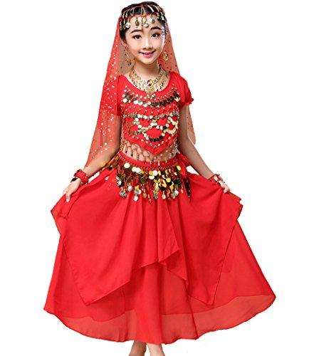 d Bauchtanz Indianisch Halloween Karneval Kostüme M Rot ()