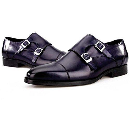 GLSHI Chaussures en Cuir pour Hommes Authentic European and American Fashion Chaussures à Tête Carrée