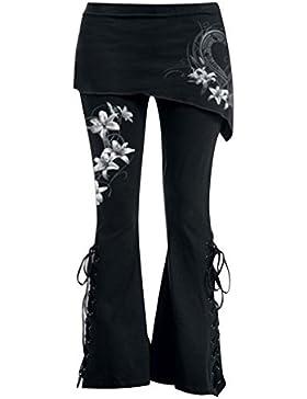 Mujeres Gótico Pantalones - Mujer Acampanado Pantalones Largo Pantalones Cordón Arriba Mini Falda Negro Pantalones...