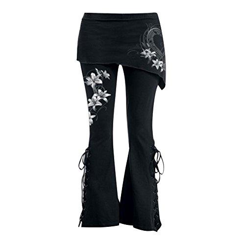 Mujeres Gótico Pantalones - Mujer Acampanado Pantalones Largo Pantalones Cordón Arriba Mini Falda Negro Pantalones Chinos Pantalones Retro Alto Cintura Polainas M - 5XL