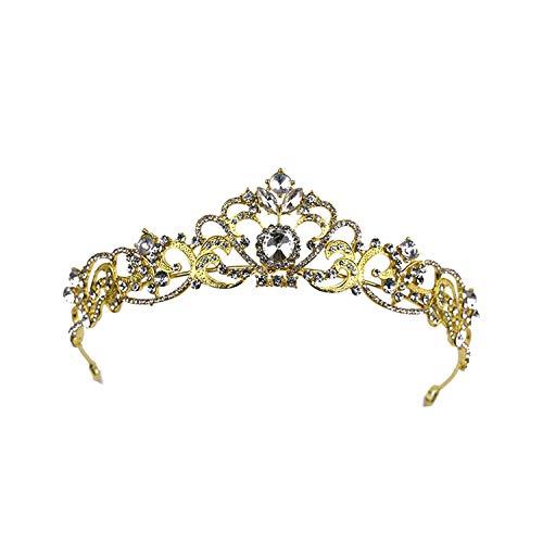Gold Hochzeit Haarschmucksachen für Frauen-Perlen-Kristall Tiara Kronprinzessin Königin Brauthaarschmuck-Wettbewerb Prom, HG233