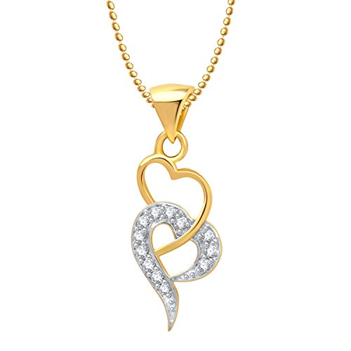 Meenaz Love Pendant Heart shape Long Locket Gold Plated American Diamond For girls and women With Chain PS238  available at amazon for Rs.274