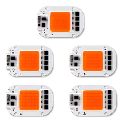 ILS - 5 Pieces 50W 220V Full Spectrum LED COB Chip Grow Light for Plant -