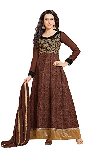 Vibes Women's Dress Material(PV318-50004F_Brown_Free Size)