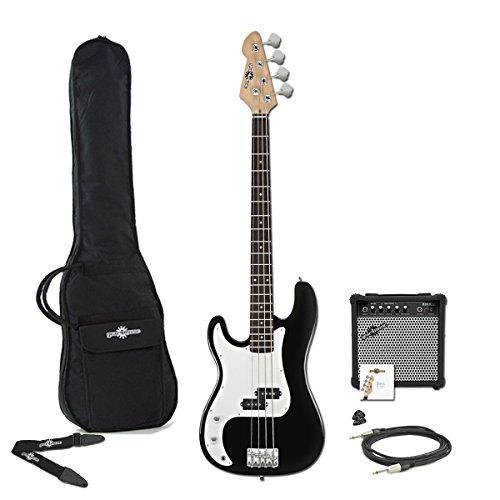 LA Linkshänder E-Bass + 15W Amp Pack schwarz