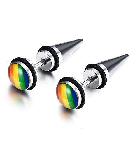 Vnox Stud orecchino 8mm coppia in acciaio inossidabile della sfera rotonda Arcobaleno Pride per Gay Lesbian LGBT
