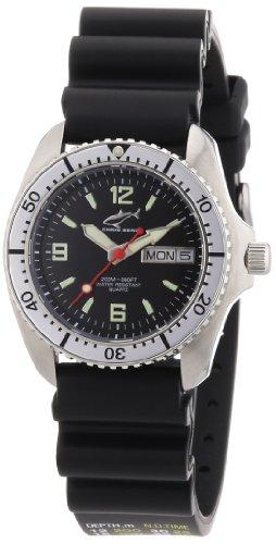 Chris Benz CBM.S.KB.SI - Reloj analógico de cuarzo unisex con correa de caucho, color negro