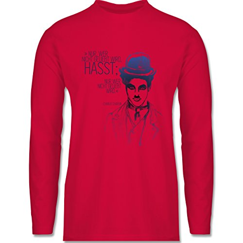Statement Shirts - Charlie Chaplin - Zitat aus der Rede des großen Diktators (Film) - Longsleeve / langärmeliges T-Shirt für Herren Rot