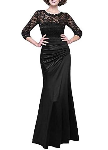 Frauen-elegante Abend-Partei-Hochzeits-Rock-lange Blumenspitze gefaltetes Weinlese-Maxi Kleid