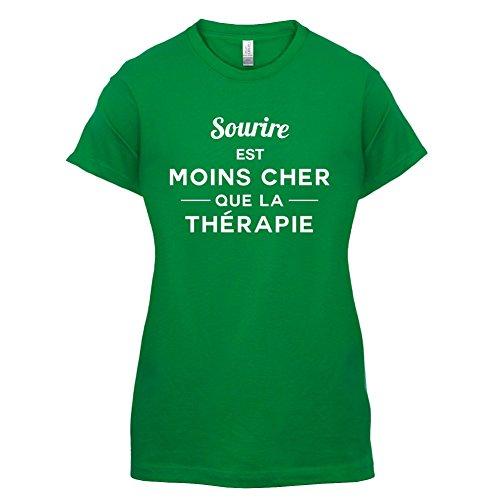 Sourire est moins cher que la thérapie - Femme T-Shirt - 14 couleur Vert