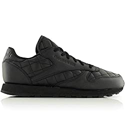 Reebok Mens Shoes/Sneakers Cl Leather Quilted Black 3.5 UK