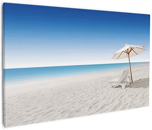 Wallario Leinwandbild Sonnenliege am Weißen Strand Unter Blauem Himmel - 60 x 90 cm in...
