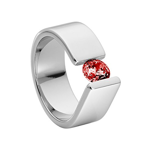 Heideman Ring Damen Maxime aus Edelstahl Silber farbend poliert Damenring für Frauen mit Swarovski Stein Zirkonia rot im Brillant Schliff 6mm
