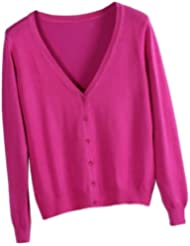 Avitalk - Cárdigan Jersey Suéter de Punto cuello V Manga Larga para Mujeres - rosa azul negro rojo amarillo beige