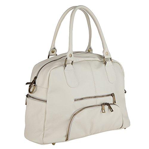 Chicca Borse Handbag Borsa a Mano da Donna con Tracolla in Vera Pelle Made in Italy 47x29x21 Cm Beige
