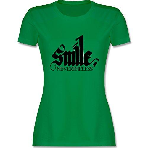Statement Shirts - Lächle trotzdem - smile nevertheless - tailliertes Premium T-Shirt mit Rundhalsausschnitt für Damen Grün