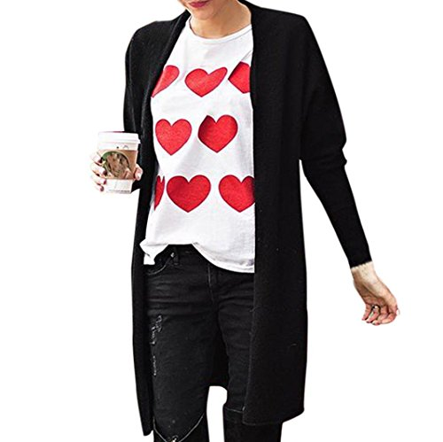 legant Langarm T-Shirt Yogogo V-Ausschnitt Lose Valentinstag Druck Casual Oberteile Oversized Top Hot Sale Herbst Winter Sweatshirt Sports Jacket Hoodie Sweatjacke Kapuzenpullover ()