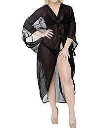 La Leela Chiffon Beach Bikini Cover up Kimono Cardigan Rounded Hem Button up