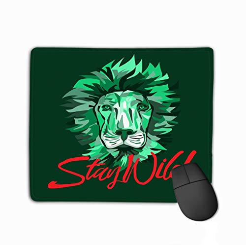 Mouse Pad Lion face Stay wild Slogan Graphic Printed Design Printing Lion face Stay wild Slogan Graphic Printed Rectangle Rubber Mousepad 11.81 X 9.84 Inch