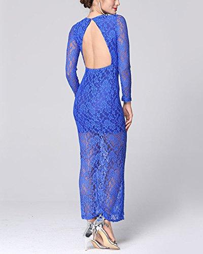 Robe Femme Robe de Soiree Robe en Dentelle Sexy sans dos Boule Robe de bal Bleu