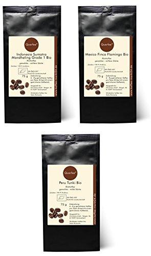 3 x Bio Kaffee Geschenkset Probierset - Indonesia Sumatra Mandheling, Mexico Finka Flamingo, Peru Tunki - Bio Röstkaffee Pantagenkaffee - 100 % Arabica - gemahlen - 3 x 75 g (225 g insgesamt)