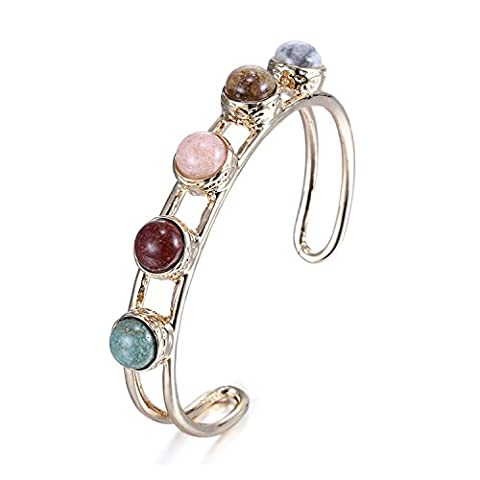 eManco Gold-Plated Copper Cuff Wire Bangle Bracelet with 5 Stone for Women Fashion Jewellery & Gift Box