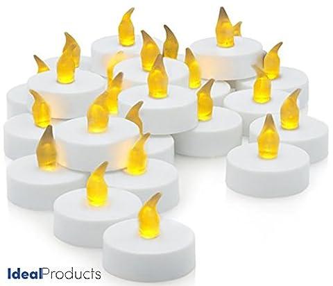Ideal Products Boite de 24 Bougies LED (+ 6 gratuites) alimentées par pile (incluses) - avec effet clignotant d'une romantique lumière jaune similaire à la flamme des bougies de cire. Parfaites pour l'Extérieur puisqu'elles ne s'éteignent pas et aussi pour l'Intérieur : sans fumées et sans risque d'incendies. Pour les Fêtes, les Veillées Intimes, la Décoration et tout type de Célébrations (Noël, Saint Valentin, Anniversaires et Commémorations, Rencontres Romantiques, Halloween, Dîners, etc).