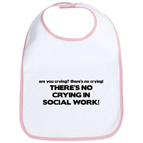 CafePress There 's No Weinen in sozialen Arbeit–Cute Stoff Baby Lätzchen, Toddler Lätzchen, Pink