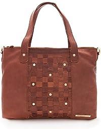Zerimar. Bolso para mujer de piel suave, amplio y con múltiples bolsillos. Color marron. Medidas: 29x37x13 cms