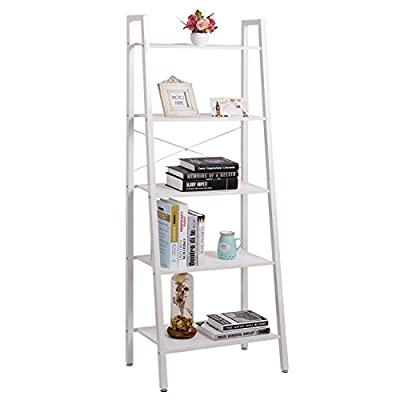 Lifewit 5 Shelf Ladder Bookcase, 5 Tiers Storage Rack, White - low-cost UK light shop.