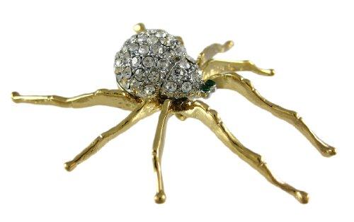 Strass akzentuierten goldfarbenes Spider Brosche Pin (Gold Spider Charme)