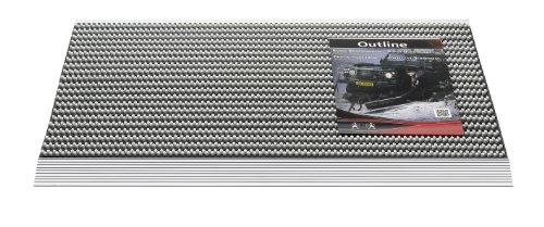 OUTLINE - GRAU 50 x 80 CM strapazierfähige Fussmatte 22 mm dick mit extrem-starken Bürsten auf rostfreiem Edelstahlrahmen.