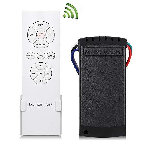 KNONEW Mando Universal para Ventilador de Techo, Control Remoto inalambrico Control de luz, 3 velocidades, RF, WiFi, 4 temporizadores, luz Universal, Encendido/Apagado