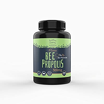 Premium Bee Propolis: 365 Capsules 1 Year Supply with 5% Bio-Flavonoids by Farmhouse Organics, 5:1 Extract 500mg, Natural Antioxidant and Natures Antibiotic, Anti-Inflammatory, Immunity Supplement, GMP standards, Manufactured in UK, Vegetarian Capsules