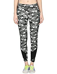 ONESPORT Military Grey & Black Printed Slim Fit Ankle Length Sports Tights for Women(ONSP38CG)