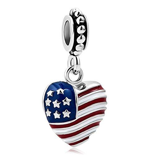 uniqueen American US Flagge Army Mom baumeln Perlen für Charm Armband (Charms Baumeln Authentisch Pandora)