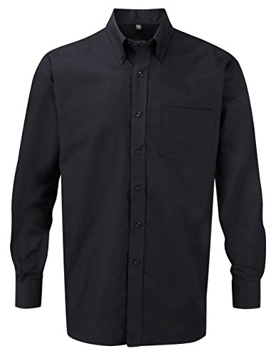 Russell Collection! Pflegeleichtes Langarm Oxford Hemd auch in Übergrößen 4XL / 49/50 / 19.5,Schwarz