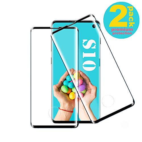 Galaxy S10 Film Protection Ecran Verre Trempé, [2 Pièces] [Compatible avec Lecteur d'Empreinte] [Protecteur de lentille] [Ultra Claire] [Dureté 9H] [Anti-Scratch] Convient pour Samsung Galaxy S10