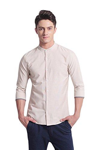 rren Slim Fit 3/4-Arm Kleid Hemds Freizeit Baumwolle Oxford Hemds (M,Khaki) (Jungen Dunkel-lila Kleid Shirt)