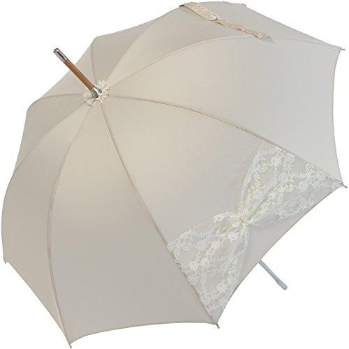 Hochzeits-Regenschirm Wedding Wien - Mesh mit Perlenbesatz - champagner (Champagner-mesh)
