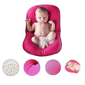 Baby Bath Tub Pillow, 4EVERHOPE Floating Anti-Slip Bath Cushion Soft Seat Bathtub Support for Newborn 0-6 Months (Pink)