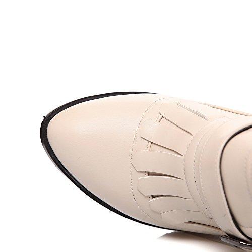 AgooLar Femme Houppe Pu Cuir à Talon Haut Pointu Boucle Chaussures Légeres Abricot