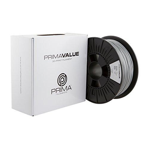 Prima Filaments PV-PLA-175-1000-SI PrimaValue PLA Filament für 3D-Drucker, 1.75 mm, 1 kg Spule, Silber