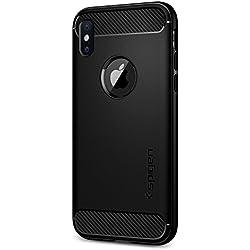 Funda iPhone X, Spigen® [Rugged Armor] Absorción de choque resistente y diseño de fibra de carbono [Compatible con Carga Inalámbrica] para iPhone X (2017) [Negro Mate]