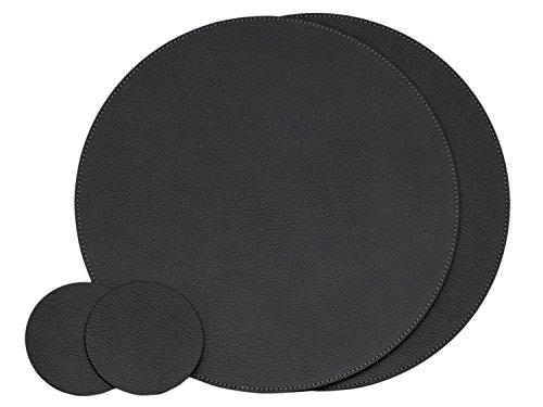 Nikalaz Rund Platzsets und Untersetzer aus recyceltem Leder, 2 Stück Tischsets, Tisch-Matten, Platzdeckchen 33 cm und Untersetzer 10cm (Schwarz) -